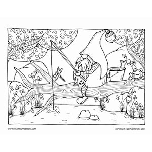 Father Gnome Fishing Coloring Page