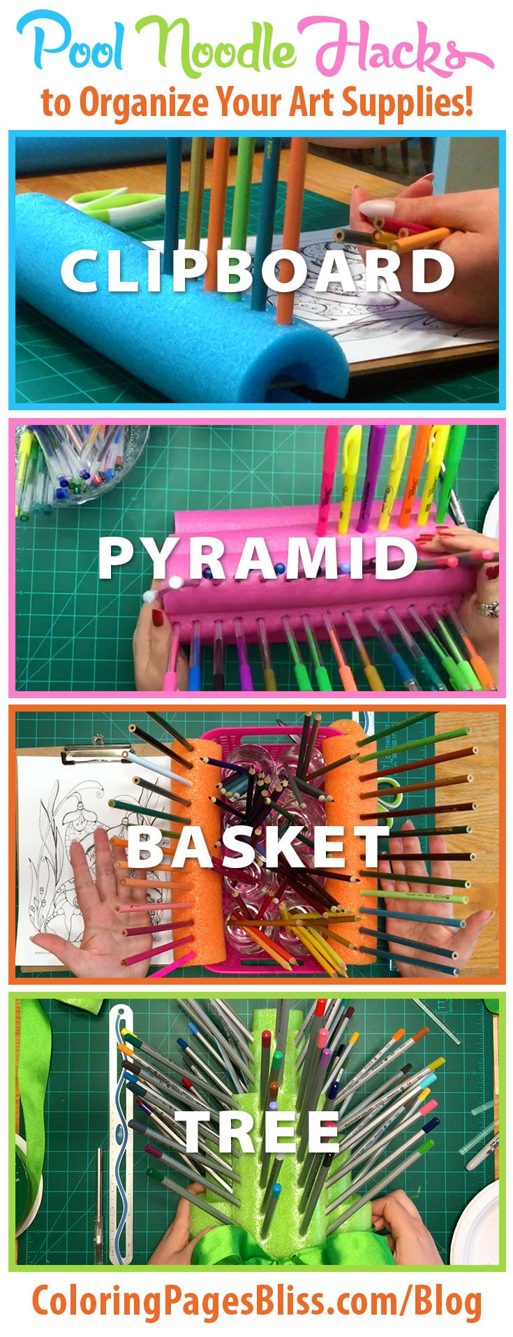 Pool Noodle Hacks to Organize Your Coloring Supplies