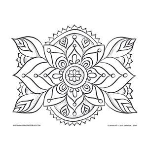 Leafy Mandala Coloring Page