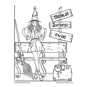 witch at bus stop coloring page - Witch Coloring Page