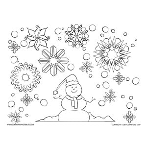 Bats Coloring Page Simple Snowman And Snowflakes