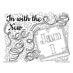 In with the New January 1st Coloring Page