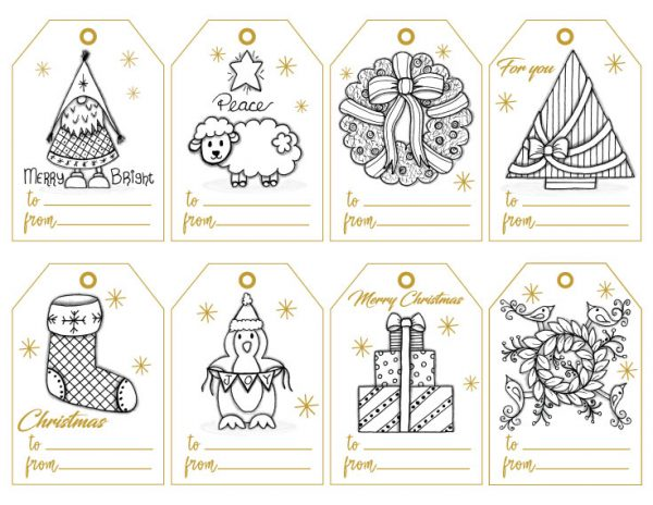 Color Your Own Christmas Gift Tags