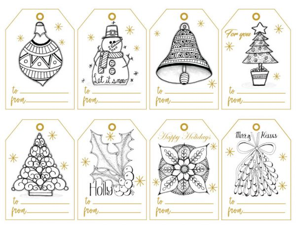 Color Hand-Drawn Gift Tags for Christmas