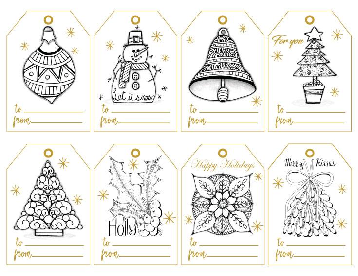 Color Hand-Drawn Gift Tags for Christmas