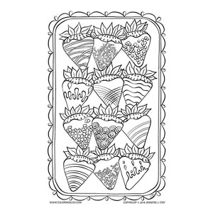 Chocolate Covered Strawberries Coloring Page