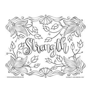 Strength Inspirational Coloring Page