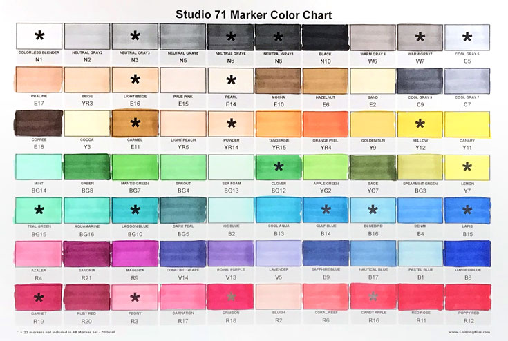 Studio 71 Markers Color Swatch Chart