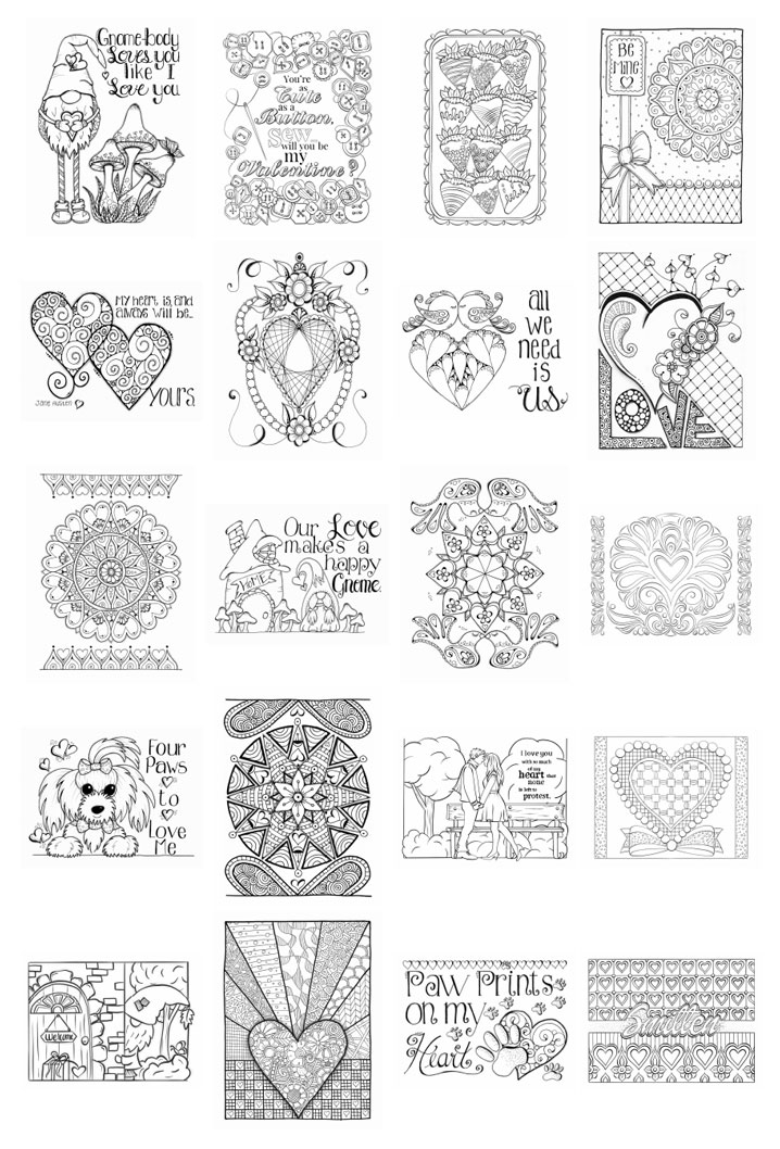 Valentine's Bliss Coloring Pages