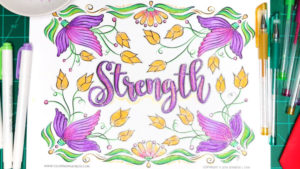 """Strength"" Coloring Page and Message"