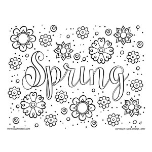 Spring Flowers Coloring Page for Adults