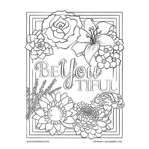 "BeYOUtiful"" Floral Coloring Page"