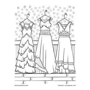 Three Lovely Gowns to Color