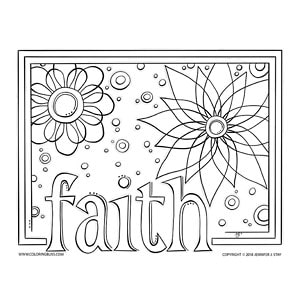 Faith Flowers Coloring Page