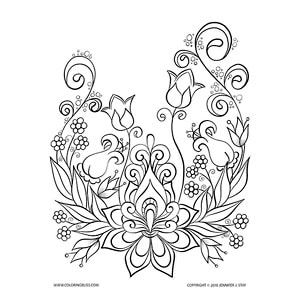 Floral Coloring Page Design