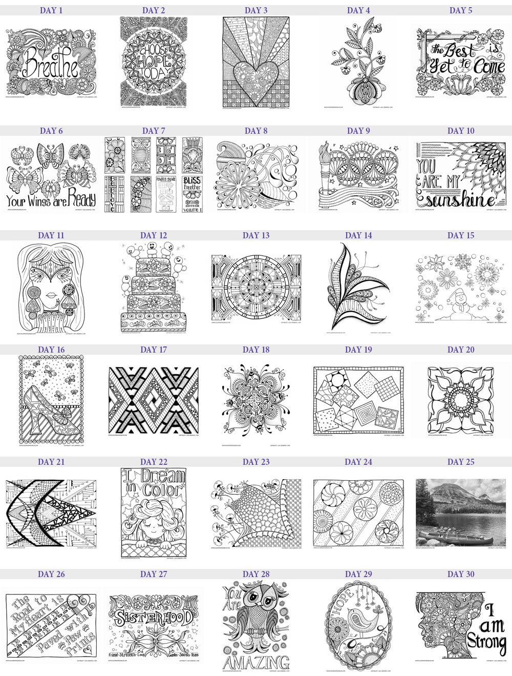 30 Days of Free Coloring Pages