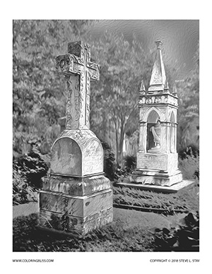 Cemetery Monuments Grayscale Coloring Page