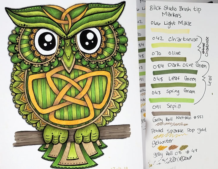Celtic Owl Coloring Session with Markers and Gel Pens