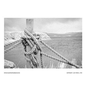 Boat Dock Rope Grayscale Coloring Page