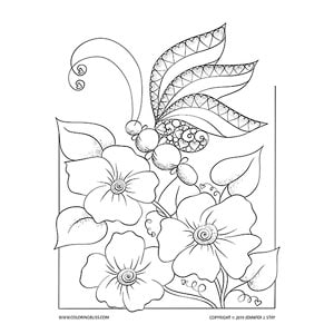 """Love Bug"" Butterfly Coloring Art"