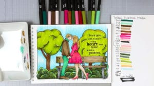 Coloring Session - Tombow Markers - Romantic Couple
