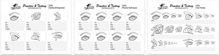 Coloring Practice Worksheets - Eyes