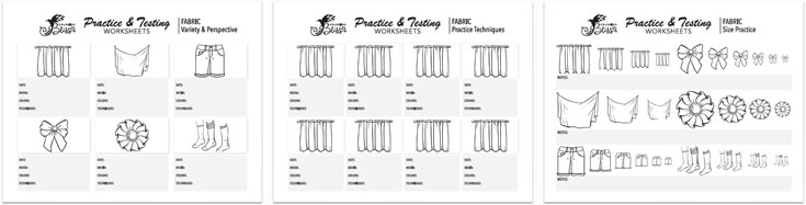 Coloring Practice Worksheets - Fabric