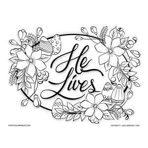He Lives Easter Coloring Page