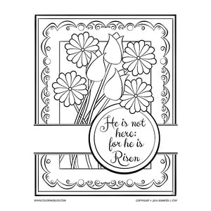 He Is Risen Religious Coloring Page For Easter