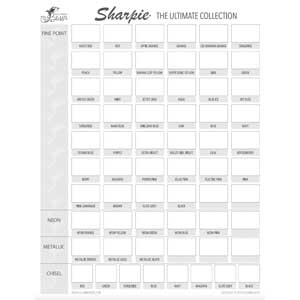 Sharpie The Ultimate Collection Swatch Chart