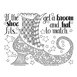 Witch's Shoe Halloween Coloring Page
