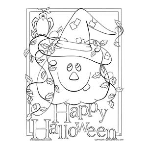 Happy Halloween Jack-O-Lantern Coloring Page