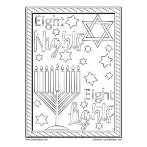 Eight Nights Eight Lights Hanukkah Coloring Page