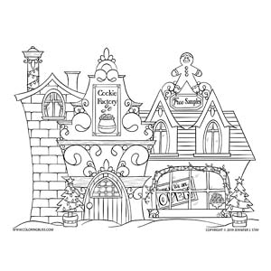 Cookie Factory Christmas Coloring Page