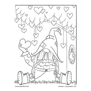 Scandinavian Gnome Surrounded by Hearts