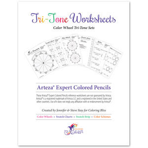 Arteza Expert Colored Pencils Tri-Tone Worksheets