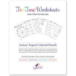 Arteza Expert Colored Pencils Tri-Tone Worksheets