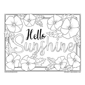 Hello Sunshine Spring Coloring Page
