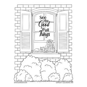 See the Good in All Things Inspirational Coloring Page