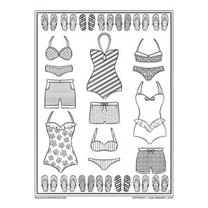 Swimsuit Flip Flops Coloring Page