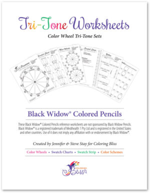 Black Widow Colored Pencils Tri-Tone Workbook