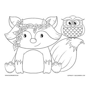 Cute Fox & Owl Coloring Page