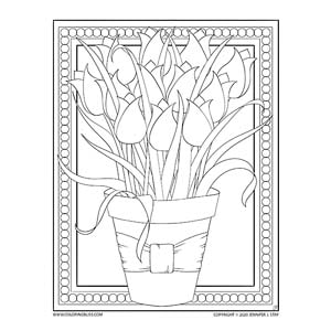 Bouquet of Tulips Coloring Page