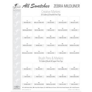 Zebra Mildliner Swatch Chart
