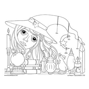 Rat Witch Halloween Coloring Page