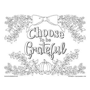 Choose to Be Grateful Autumn Coloring Page