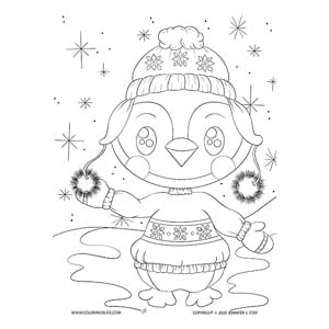 Exclusive Penguin Coloring Page