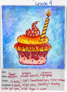 Gel Pen Cupcake Lesson 4
