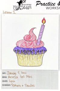 Gel Pens Fast Track Lesson 1 Cupcake