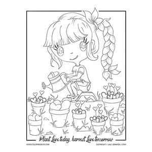 Chibi Girl Planting Hearts